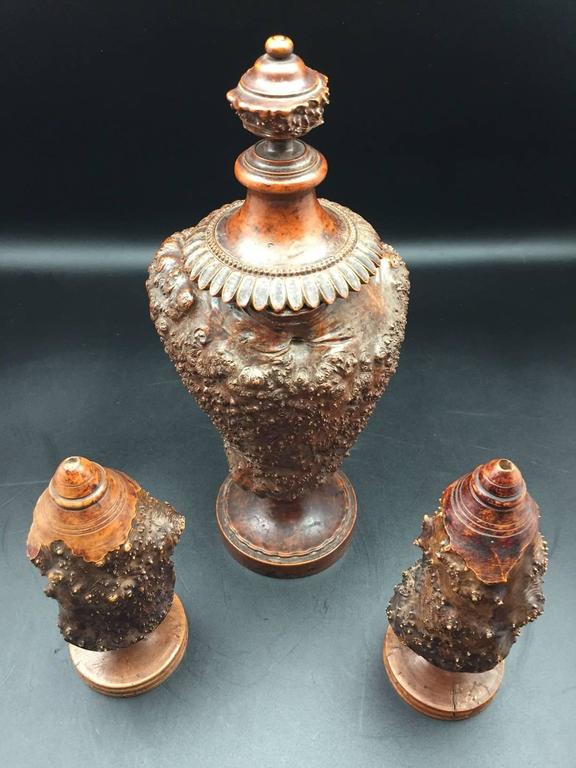 Burr or Burl Wood 19th Century European Garniture Set of Three Turned Jars 2