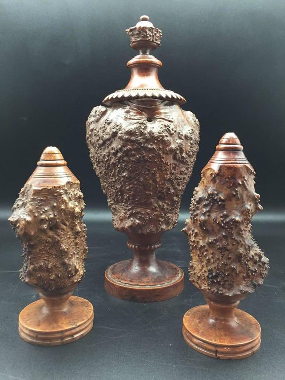 Burr or Burl Wood 19th Century European Garniture Set of Three Turned Jars 8