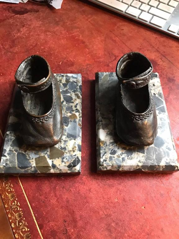 Bronze Ballerina Style Baby Shoes Pair Weights with Marble Base In Good Condition For Sale In New York, NY