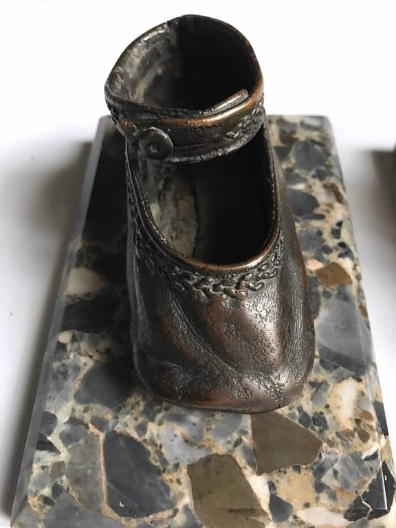 20th Century Bronze Ballerina Style Baby Shoes Pair Weights with Marble Base For Sale