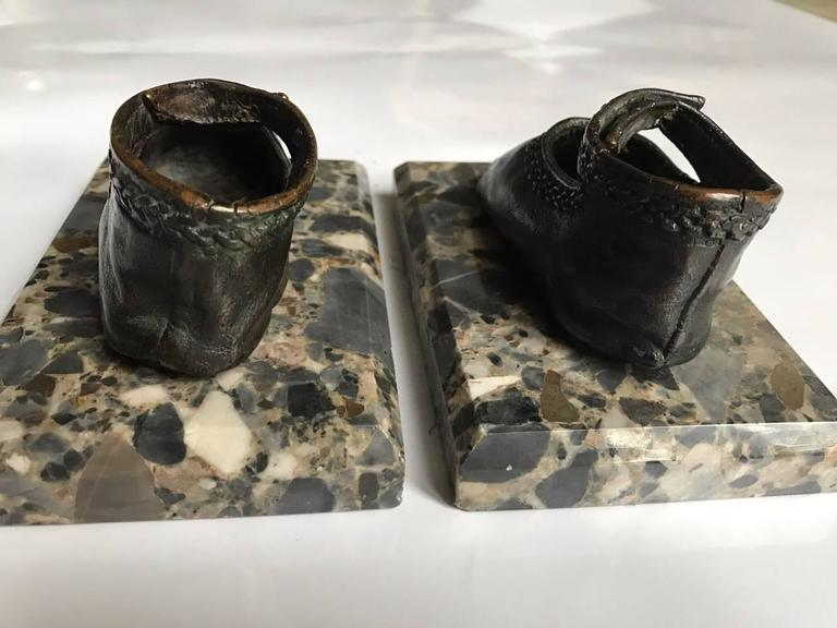 Bronze Ballerina Style Baby Shoes Pair Weights with Marble Base 9