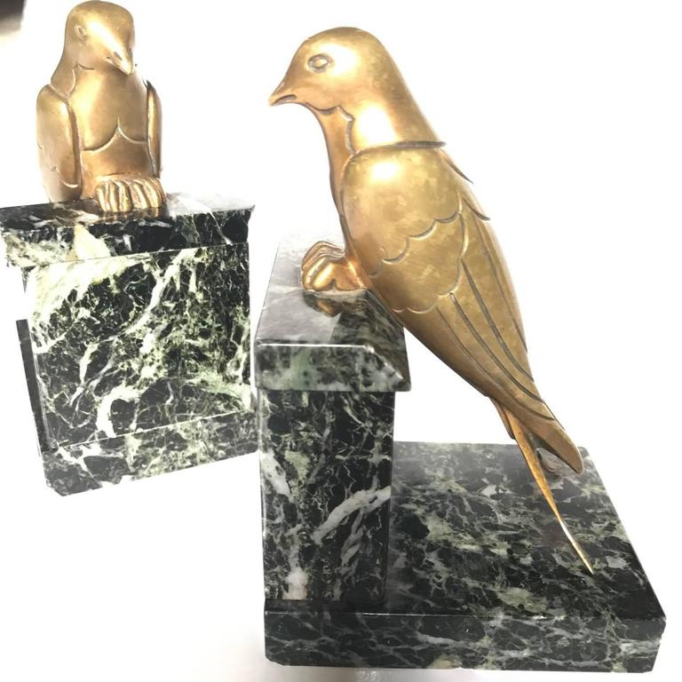 French 1930s Art Deco Bronze Swallow Bird Bookends by Suzanne Bizard 2