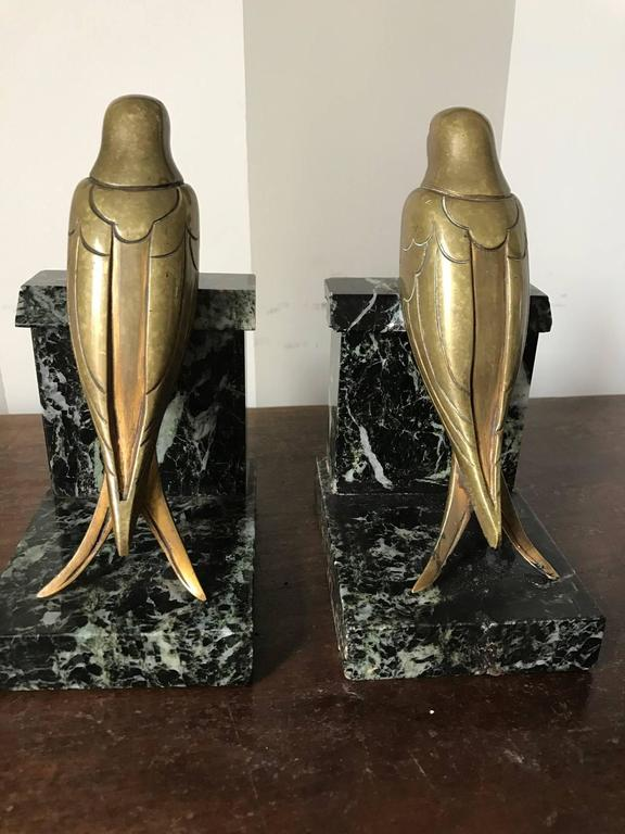 French 1930s Art Deco Bronze Swallow Bird Bookends by Suzanne Bizard 4