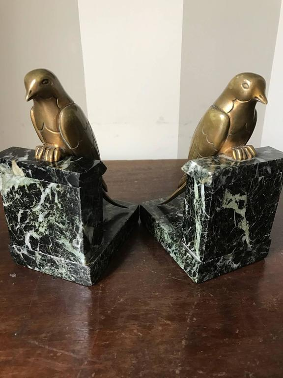 French 1930s Art Deco Bronze Swallow Bird Bookends by Suzanne Bizard 6