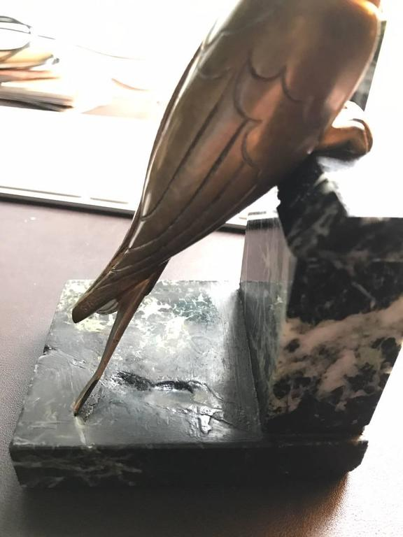 French 1930s Art Deco Bronze Swallow Bird Bookends by Suzanne Bizard 8