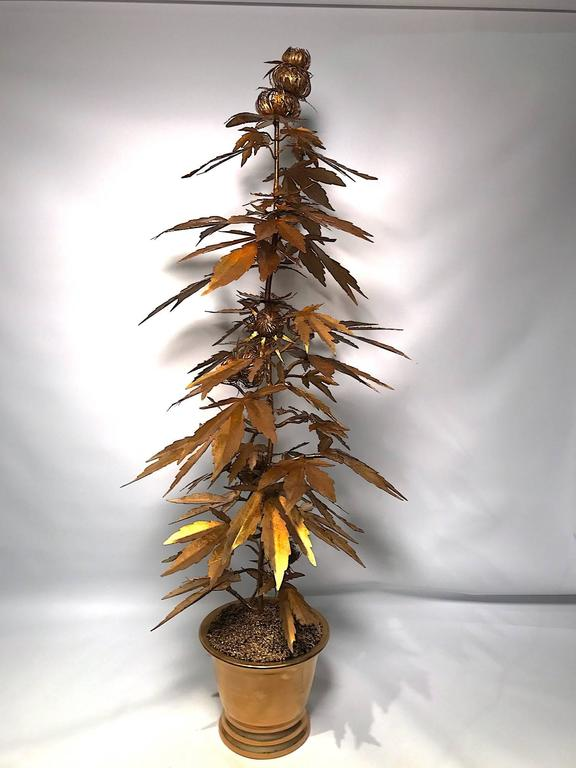 Very Tall Gilded Toll Marijuana or Cannabis Potted Plant 8