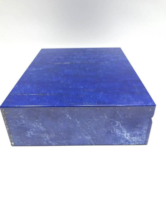 Contemporary Lapis Lazuli Semi Precious Stone Box with Hinged Lid For Sale