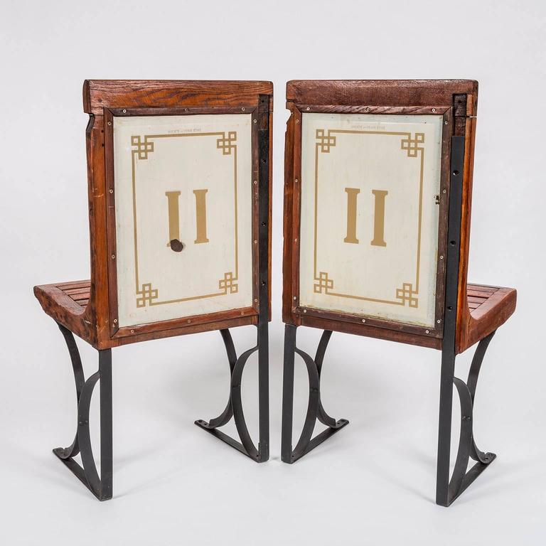 Rare Pair of 1920s Second Class Paris Metro Chairs with Enamel Backing 2