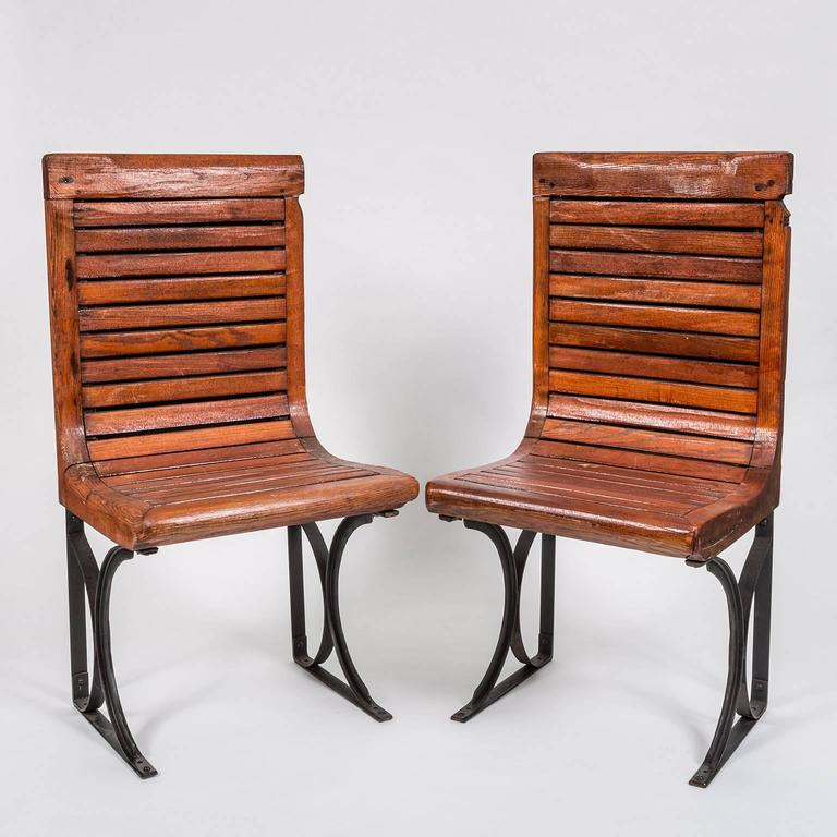 Rare Pair of 1920s Second Class Paris Metro Chairs with Enamel Backing 3