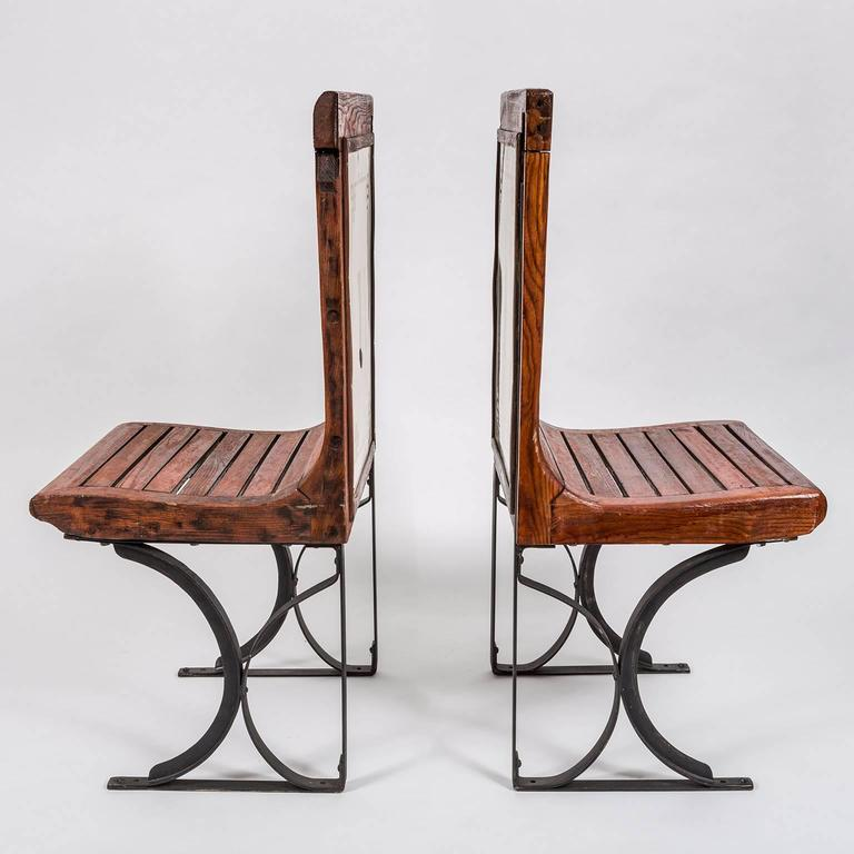 Rare Pair of 1920s Second Class Paris Metro Chairs with Enamel Backing 6
