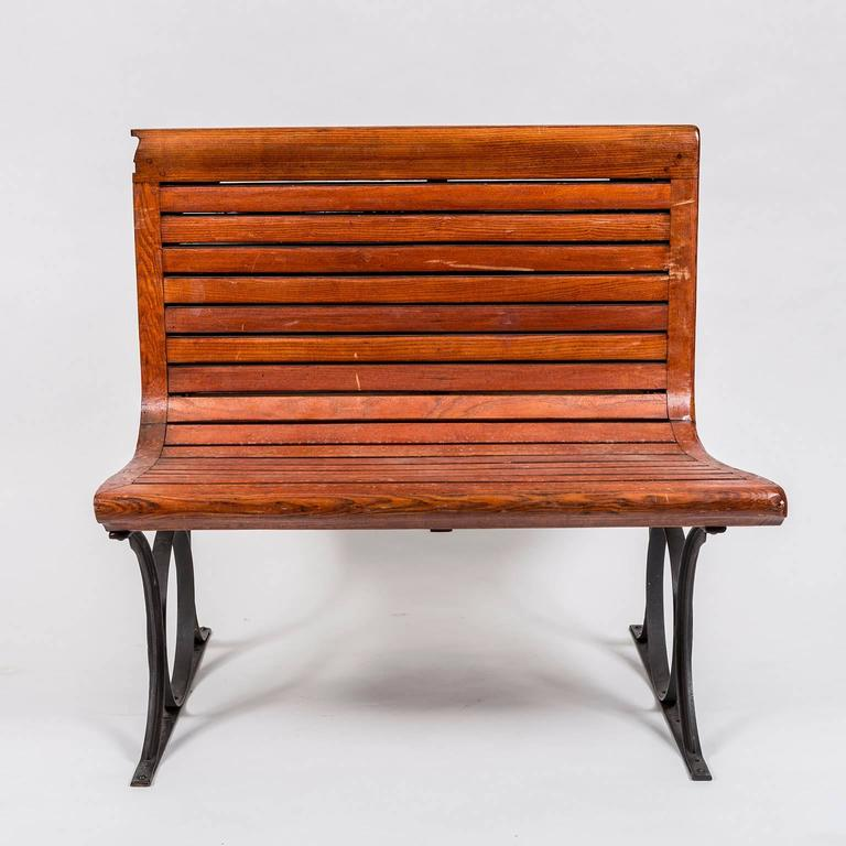 Rare 1920s French Paris Metro Second Class Double Sided Wooden Slatted Bench 3