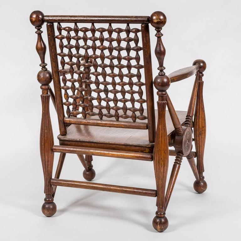 Arts and Crafts Period Oak Lattice Fretworked Armchair 4