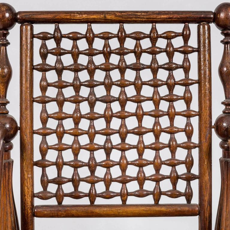Arts and Crafts Period Oak Lattice Fretworked Armchair 5