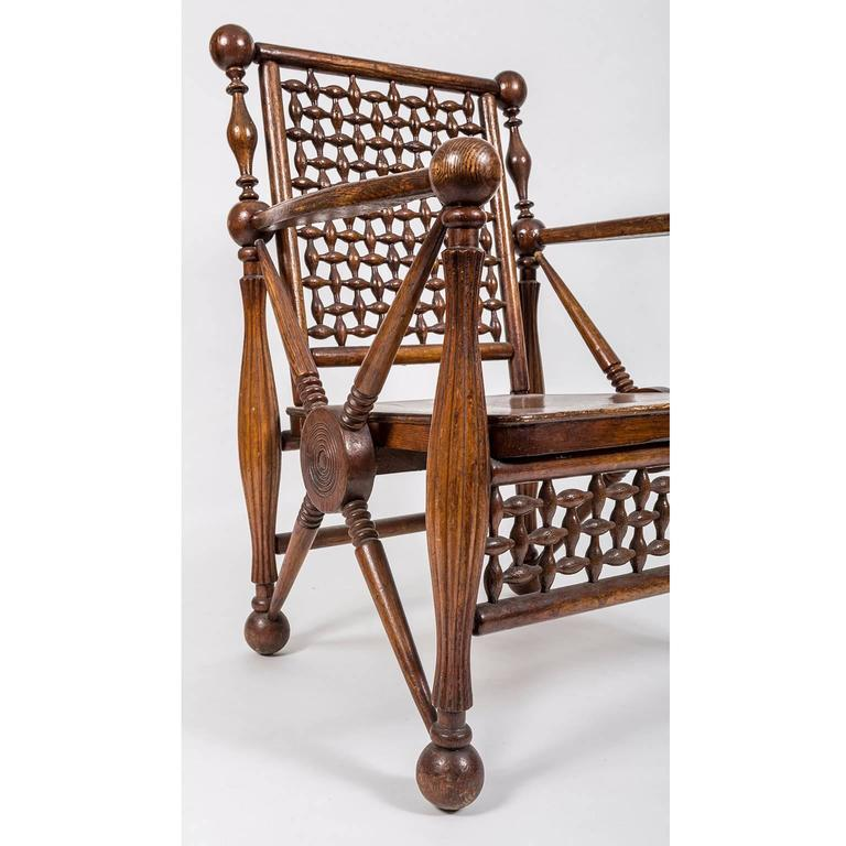 Arts and Crafts Period Oak Lattice Fretworked Armchair 6