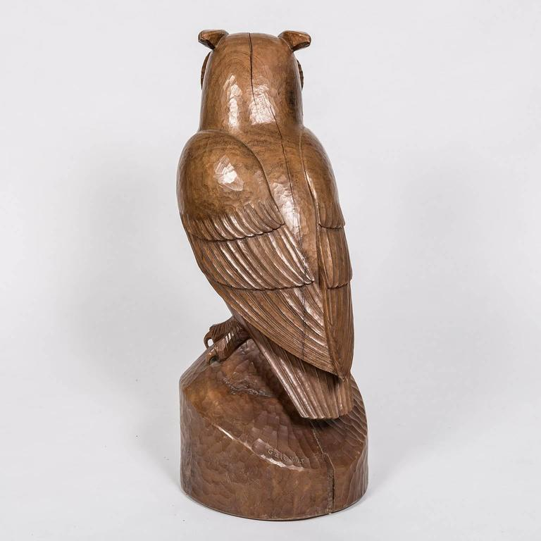 "Owl ""Hibou"" Carved Rosewood Bird Sculpture by French Artist François Galoyer 2"