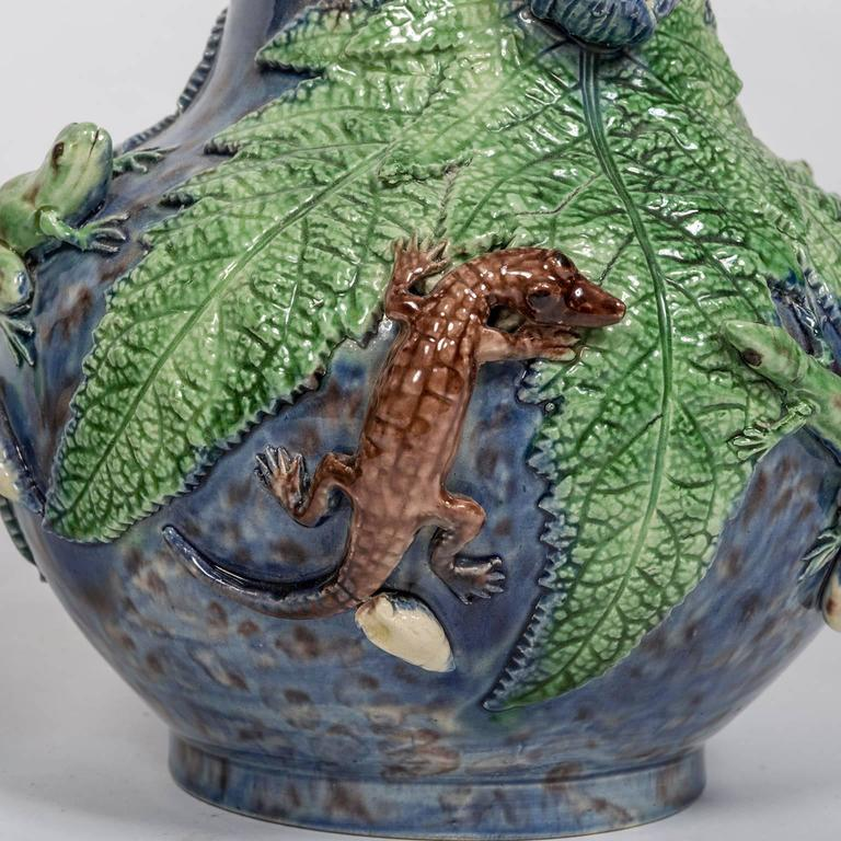 Portuguese Majolica Electrified Vase Lamps with Snake Handles, Frog and Lizard Decoration For Sale