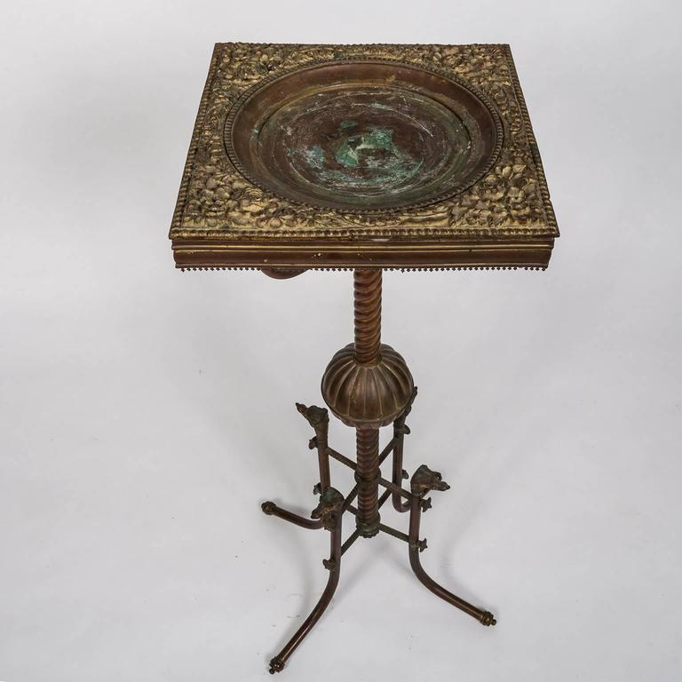 Copper Repousse Plant Stand with Dog's Head Decoration, American, circa 1900 4