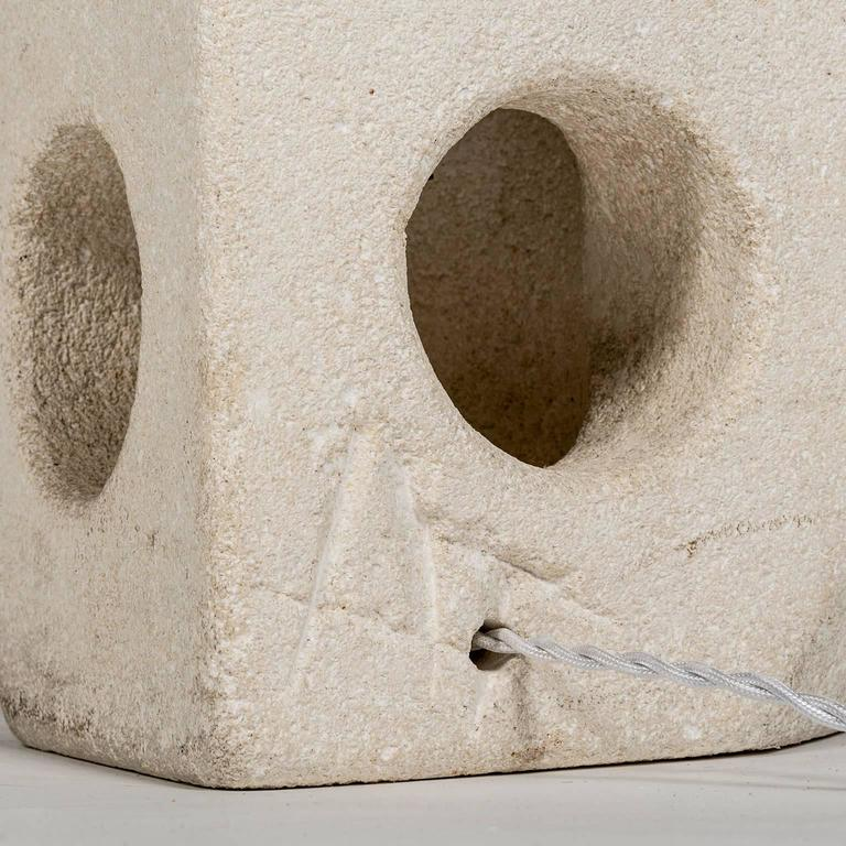 Lantern Owl Sculpted and Signed in Limestone by Albert Tormos, French, 1970s 4