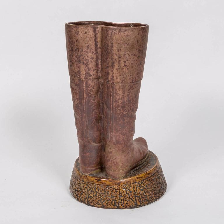 Antique Terra-Cotta Umbrella/Cane Stand in the Form a Pair of Riding Boots 3