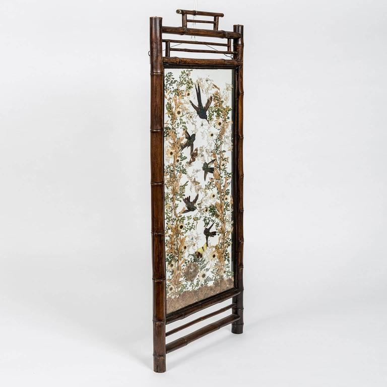 A pair of 19th century hummingbird taxidermy screens, in bamboo Japanese- style frames probably dating from the last quarter of the 19th century when the aesthetic influence of Japan was very much in vogue. They were created by the renowned London