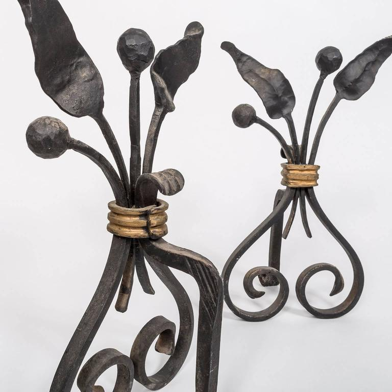 Pair of 1940s, French Forged and Gilt Flower Bunch Andirons In Good Condition For Sale In New York, NY