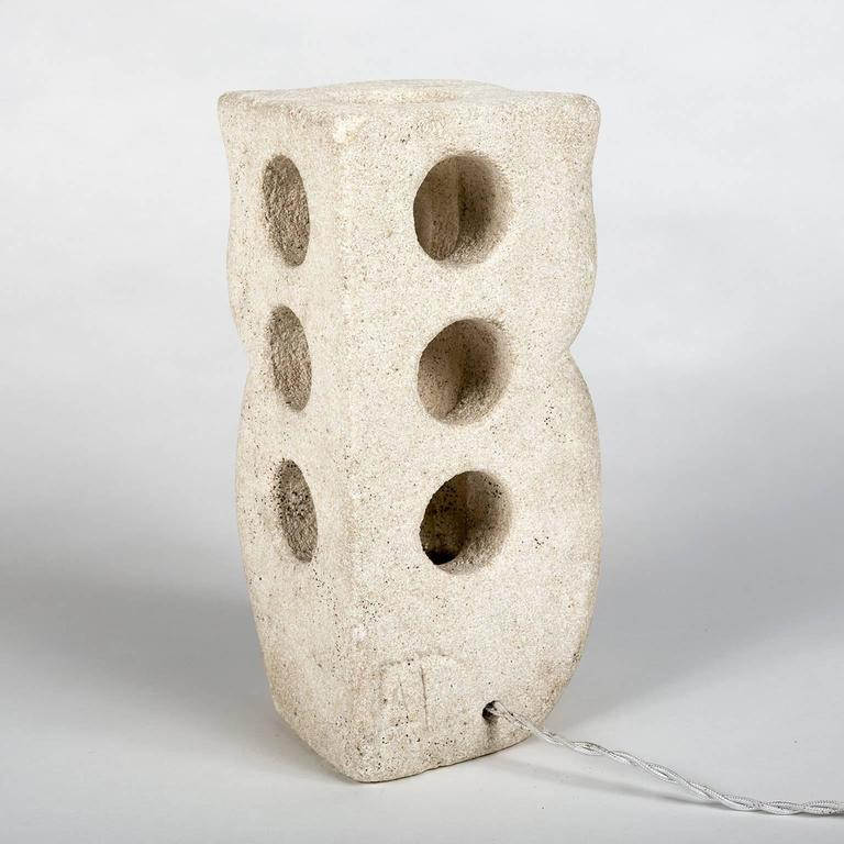 Lantern Owl Lamp Sculpted in Limestone and Signed by Albert Tormos, Electrified 3