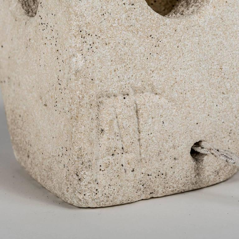 Lantern Owl Lamp Sculpted in Limestone and Signed by Albert Tormos, Electrified 4