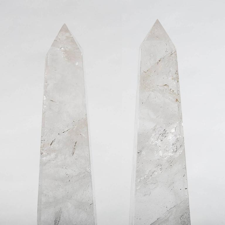 Rock Crystal Obelisks from Brazil in the Neoclassical Grand Tour Style, a Pair 2