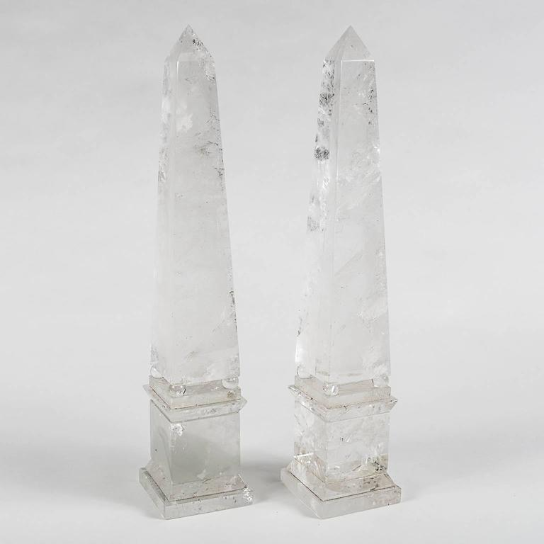 Rock Crystal Obelisks from Brazil in the Neoclassical Grand Tour Style, a Pair 4