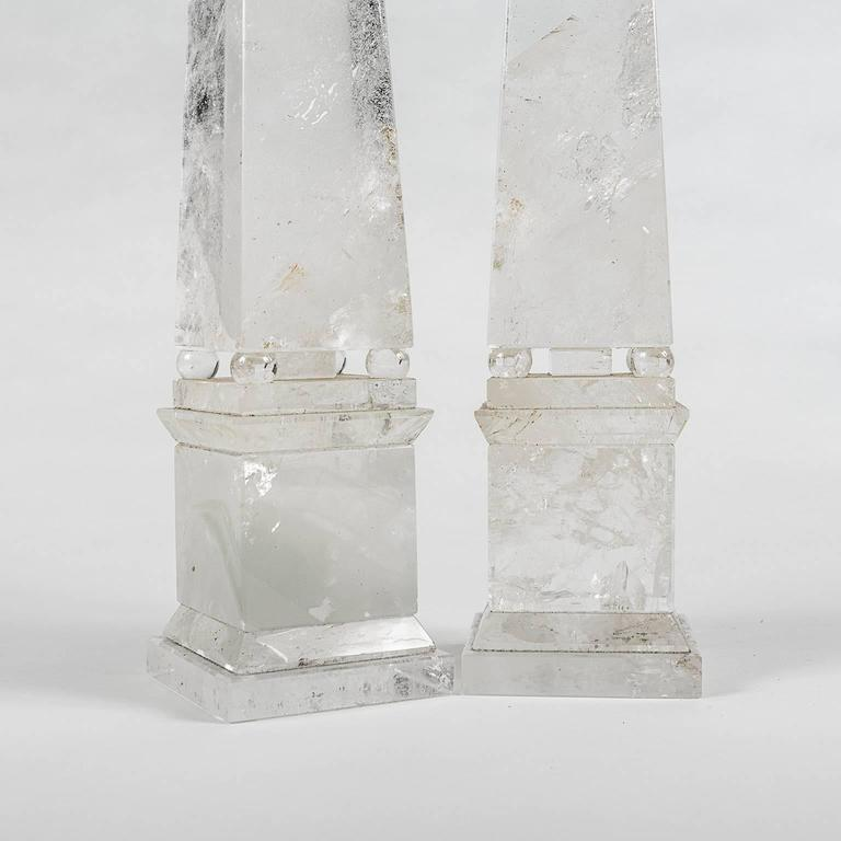 Rock Crystal Obelisks from Brazil in the Neoclassical Grand Tour Style, a Pair 3