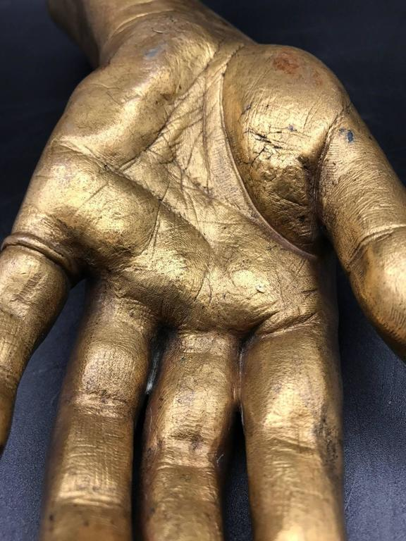 French 19th Century Life-Size Gilded Bronze Hand For Sale 4