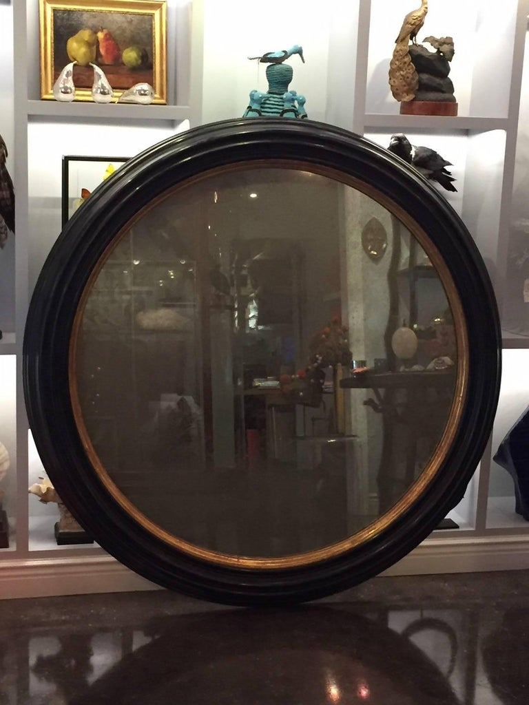 Vintage Colossal Round French Black Painted And Gilt Wood