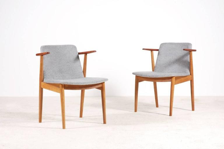 Danish Hans Olsen Pair of Teak and Oak Chairs, 1950s For Sale