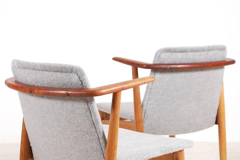 Mid-20th Century Hans Olsen Pair of Teak and Oak Chairs, 1950s For Sale