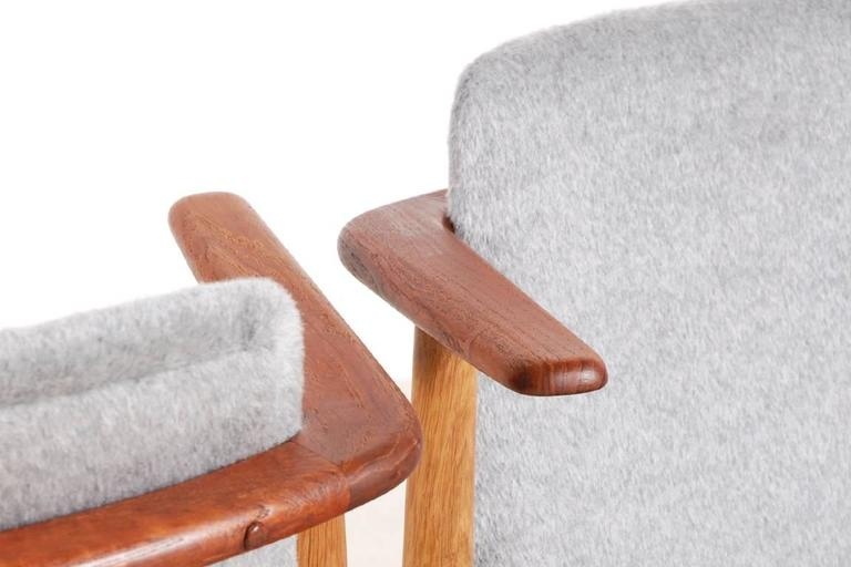 Fabric Hans Olsen Pair of Teak and Oak Chairs, 1950s For Sale