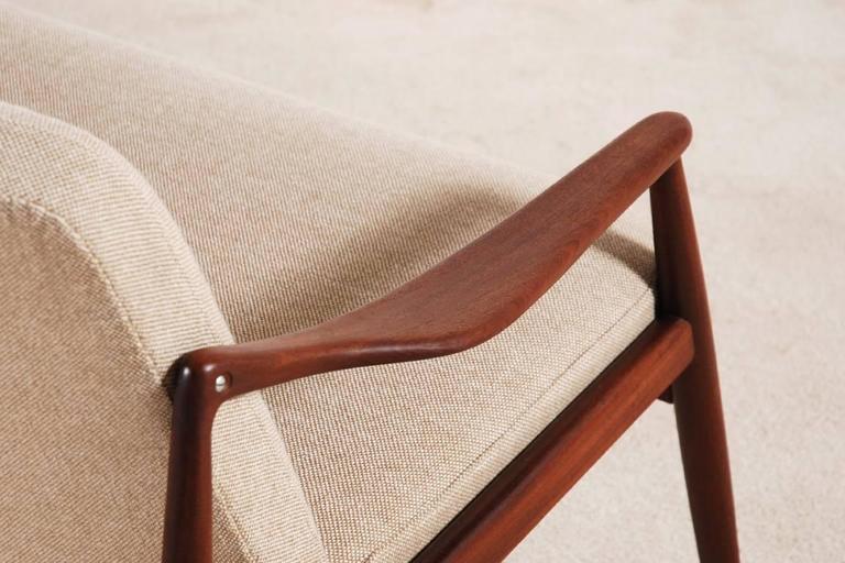 Fabric Beautiful Hartmut Lohmeyer Three-Seat Teak Sofa for Wilkhahn, 1950s For Sale