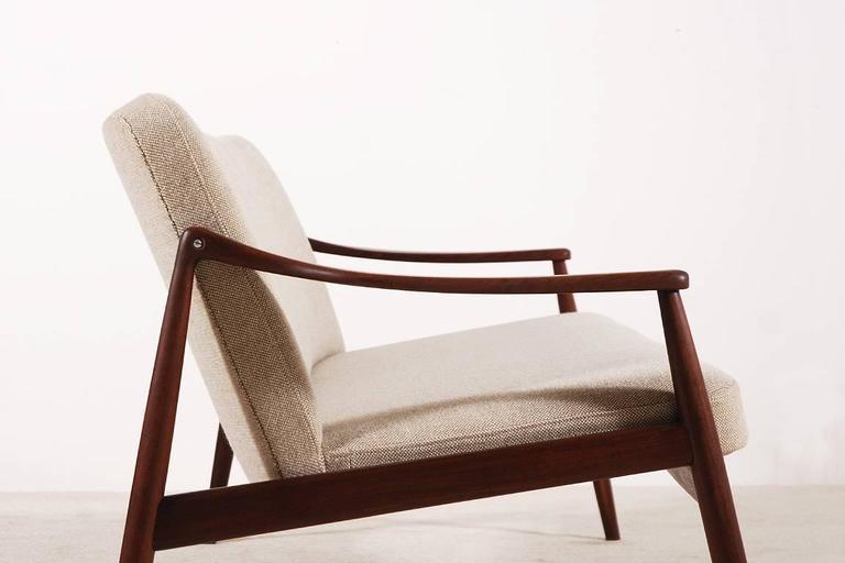 Mid-20th Century Beautiful Hartmut Lohmeyer Three-Seat Teak Sofa for Wilkhahn, 1950s For Sale