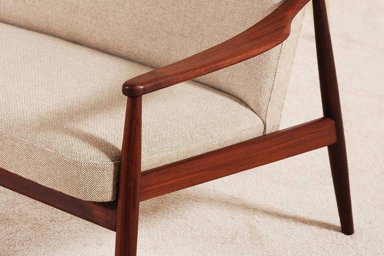 Beautiful Hartmut Lohmeyer Three-Seat Teak Sofa for Wilkhahn, 1950s For Sale 3