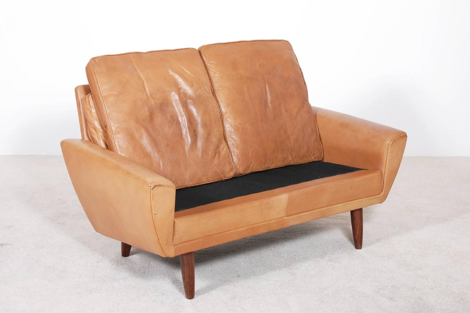 Scandinavian two seater leather sofa 1960 at 1stdibs for Leather sofa 7 seater
