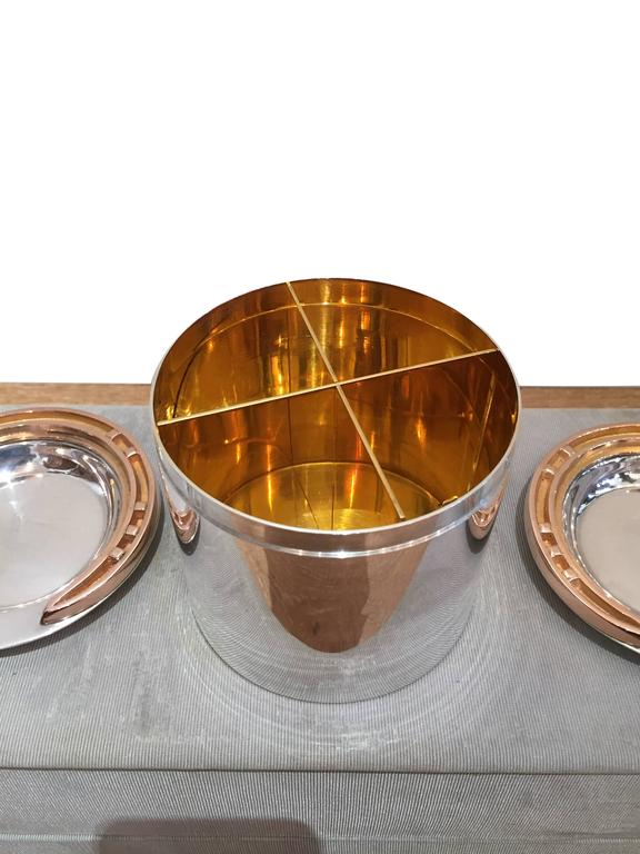 Rare 1930s Hermes Silver and Silver Gilt Smoker's Set For Sale 1