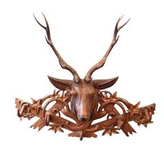 Late 19th Century Swiss Black Forest Carved Stag Rack