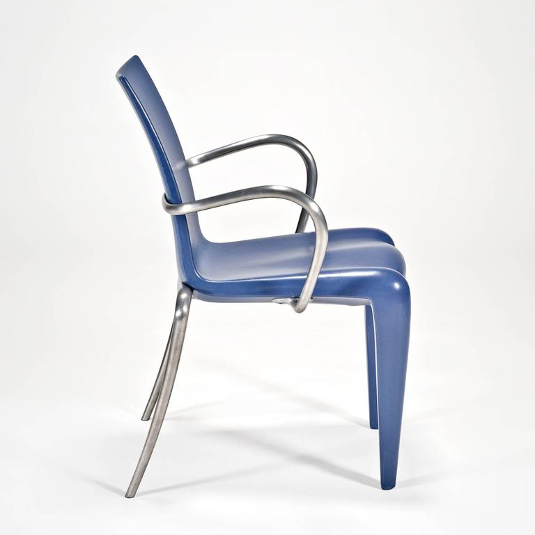 Designed in 1991, this version is an early production prototype, sent to the US as a sales sample. On the bottom of the chair, production versions have incised in the metal Louis XX by Starck for Vitra. This prototype does not have these details, as