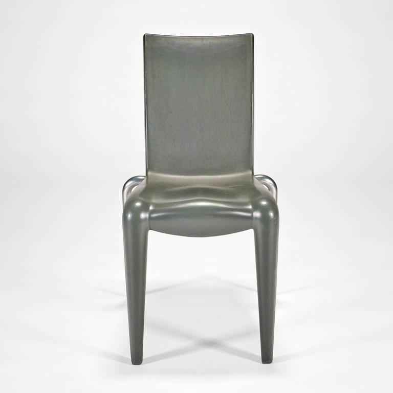 Early production version sent to the US as a sales sample. This example in good condition with some some surface oxidation of the plastic. On the bottom of the chair, this example incised in the metal Louis 20 by Starck for Vitra. Chair is no longer