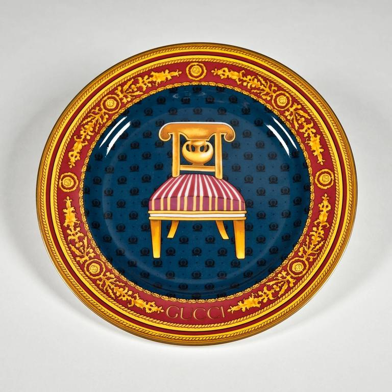 Japanese Coffee Set and Dessert Plates with Chairs by Gucci For Sale