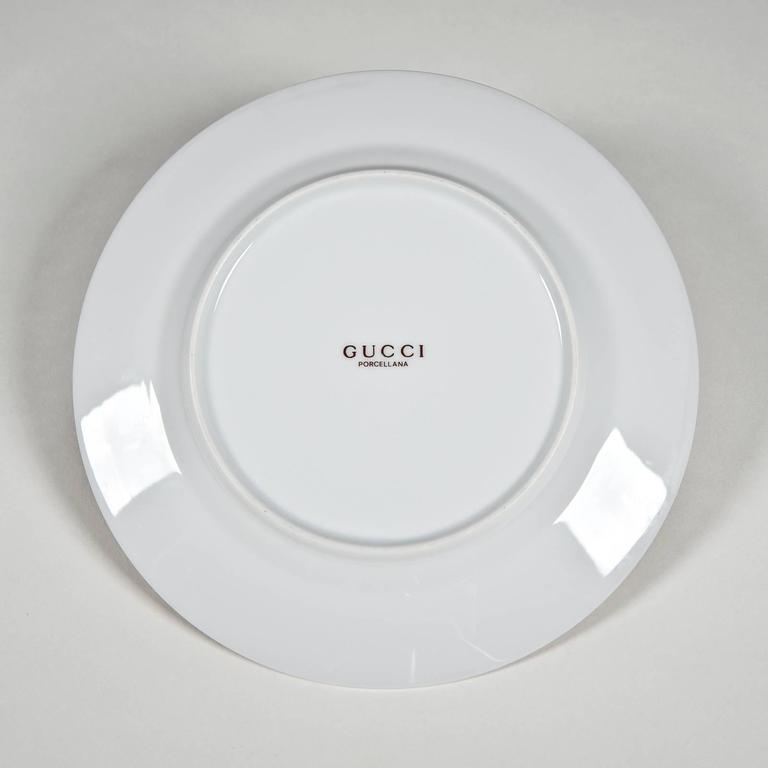 Contemporary Coffee Set and Dessert Plates with Chairs by Gucci For Sale