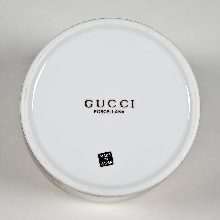 Porcelain Coffee Set and Dessert Plates with Chairs by Gucci For Sale
