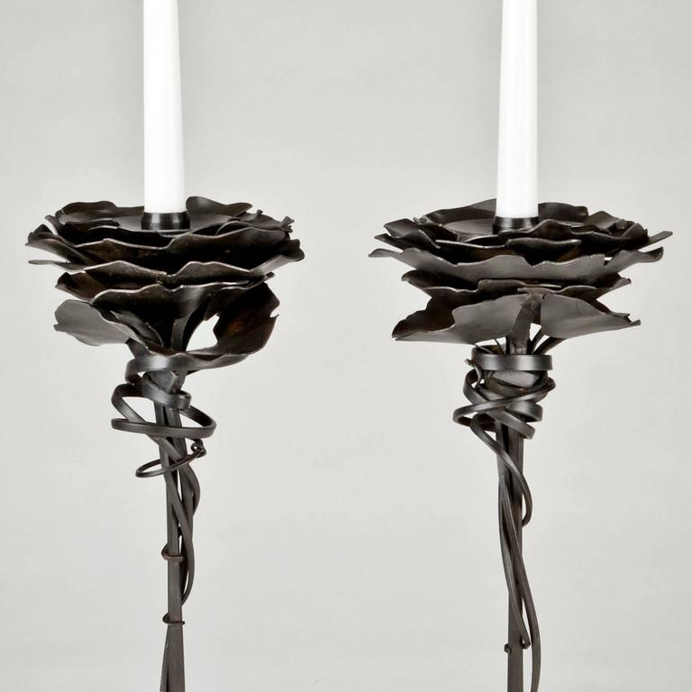 "Stamped ""Albert Paley 1989"" on base. Produced in a total series of 100 pairs for the Peter Joseph Gallery. These two numbered 87 & 89 on bottom. Rare early decorative arts edition. Only one set available.