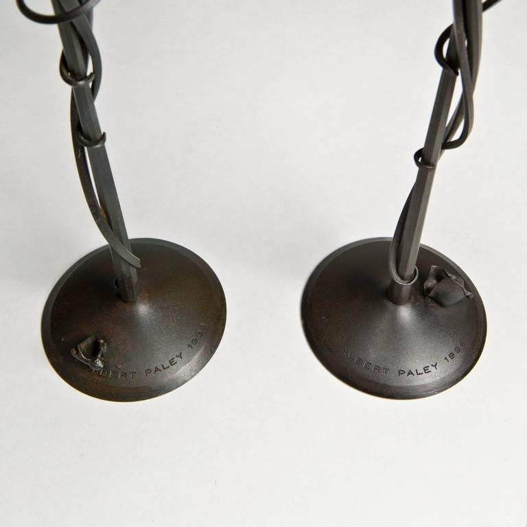 American Craftsman Gingko Candleholders by Albert Paley For Sale