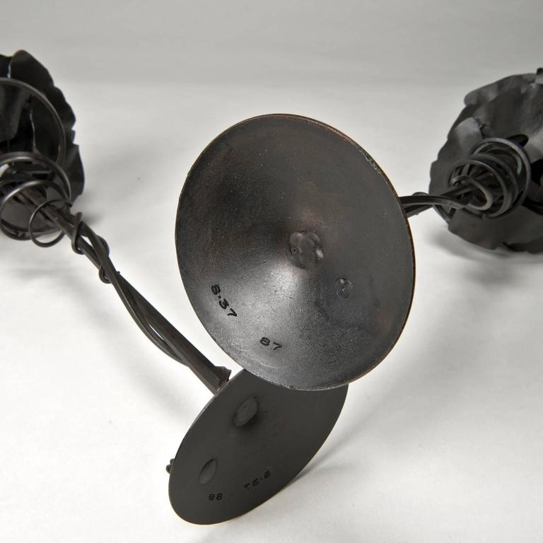 Forged Gingko Candleholders by Albert Paley For Sale