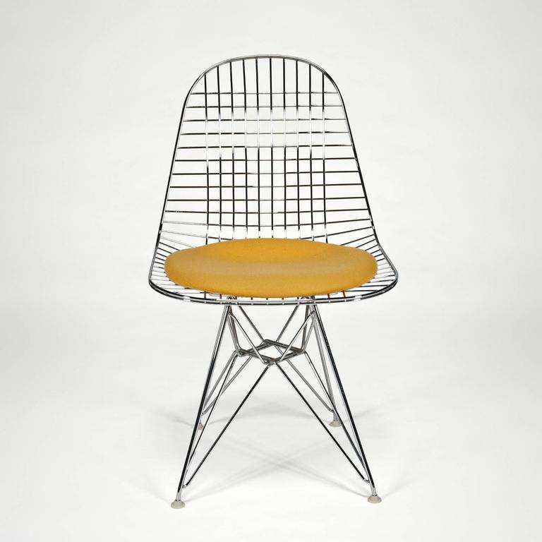Wire Side Chair 'DKR' with Seat Cushion by Charles and Ray Eames 2